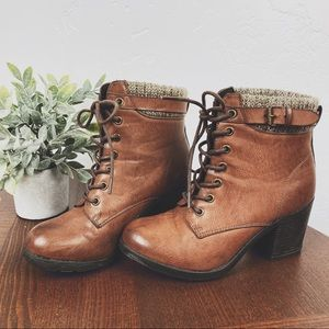 MIA Brown Heeled Combat Lace Up Boots